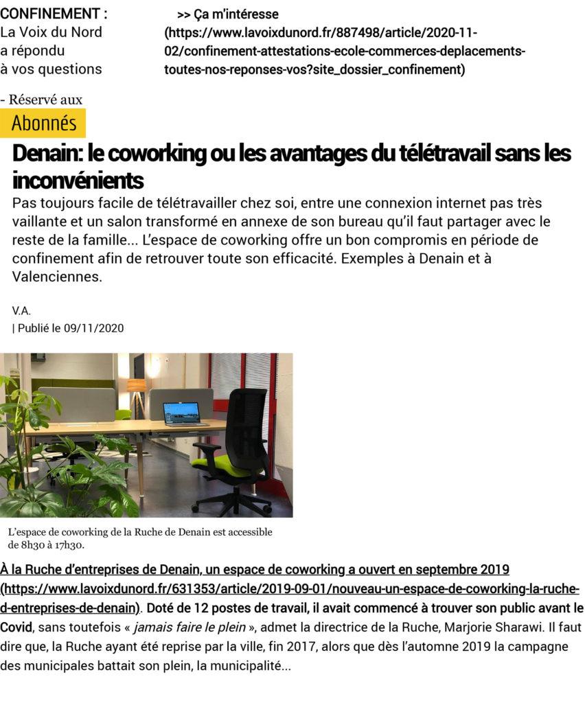 Article de presse sur le coworking et les avantages du télétravail sans les inconvénients à La Ruche de Denain